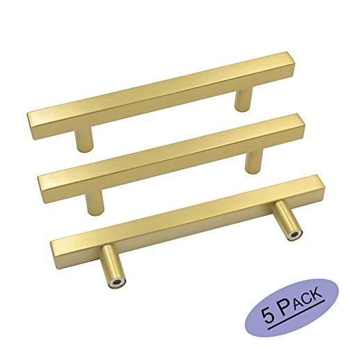 goldenwarm 5in(128mm) Cabinet Pulls Gold Cabinet Hardware Knobs 5Pack - LS1212GD128 Brushed Brass Cabinet Pulls Square T Bar Drawer Pulls Brass Kitchen Hardware