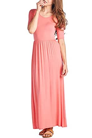 82 Days Women's Casual 3/4 Sleeve Long Maxi Dress with Elastic Waist Made in USA - Coral S