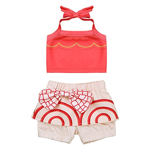 iiniim Baby Girls Moana 2 Piece Bikini Swimsuit Swimwear Bathing Suit Halter Tops with Shorts Set Red 18-24 Months by iiniim
