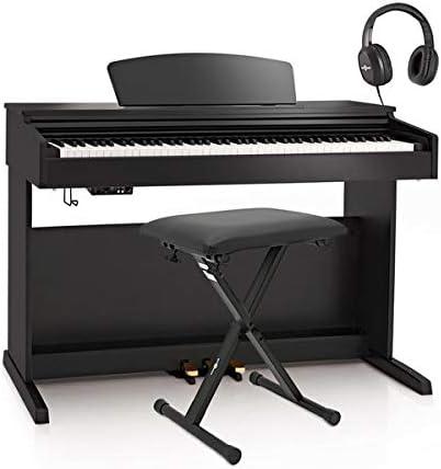 Piano Digital DP-10plus de Gear4music + Pack de Accesorios - Negro Brillante