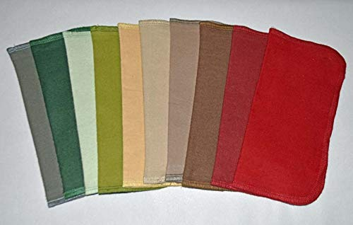 - Full Earthtone Set-2 Ply Color Flannel Washable Napkins 8x8 inches 10 Pack - Little Wipes (R)