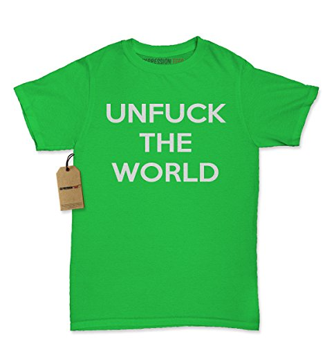 [Womens Unfuck The World T-Shirt Medium Kelly Green] (Price Is Right Costume)
