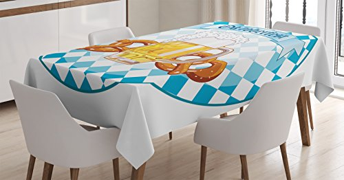 Ambesonne Oktoberfest Decorations Tablecloth by, Round Shaped Oktoberfest Celebration Art Design With Beer and Pretzel, Dining Room Kitchen Rectangular Table Cover, 60 X 84 Inches, Orange White Blue