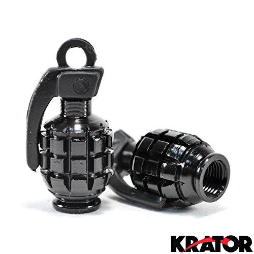 Krator Motorcycle Silver Tire Wheel Grenade Valve Caps For Harley Davidson Dyna Glide Fat Bob Super Wide