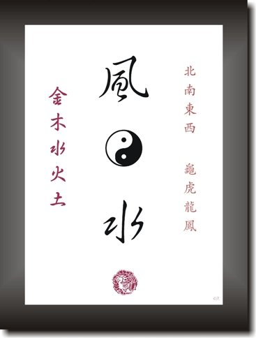 Feng Shui Decorations With Asian Kanji Characters And The Yin And