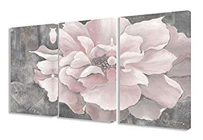Stupell Home Décor 3 Piece Pastel Pink Peony On Gray Triptych Canvas Art Set, 16 x 1.5 x 24, Proudly Made in USA