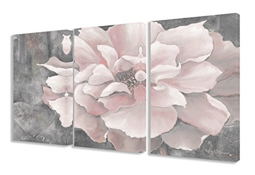 Stupell Home Décor 3 Piece Pastel Pink Peony On Gray Triptych Canvas Art Set, 16 x 1.5 x 24, Proudly Made in USA ()