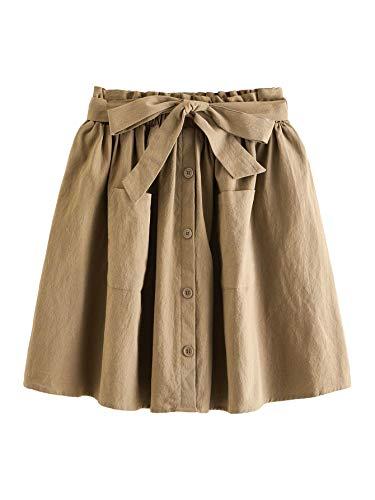 SheIn Women's Casual Self Tie Waist Frill Double Pocket Short Skirt
