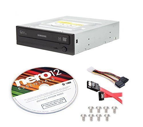 Samsung SH-224DB/BEBE-KIT 24x Internal CD DVD±R/RW Dual Layer Disc Burner Drive Writer + Nero 12 Essentials + Sata Cable Kit by BestDuplicator