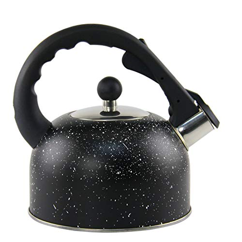 Riwendell 2.1 Quart Whistling Tea Kettle Stainless Steel StoveTop Marble Texture Teapot (GS-04007J-Black-2.0L)