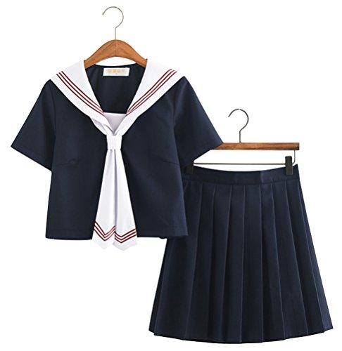 Japanese School Uniform Adult Women, Halloween Sailor Cosplay Costume Outfit Navy (L, Short (Sailor Fuku Costume)