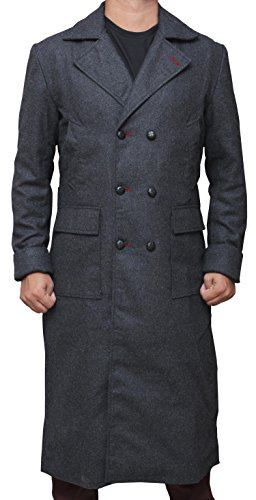 Cumberbatch Sherlock Costume (Benedict Cumberbatch Movies Outfit Sherlock Holmes Costumes Mens Long Coat 3XL)