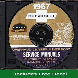 1967 Chevy Chevrolet Chevelle Camaro El Camino Corvette Chevy II Impala Repair Shop Service Manual CD GM 67 (with Decal)