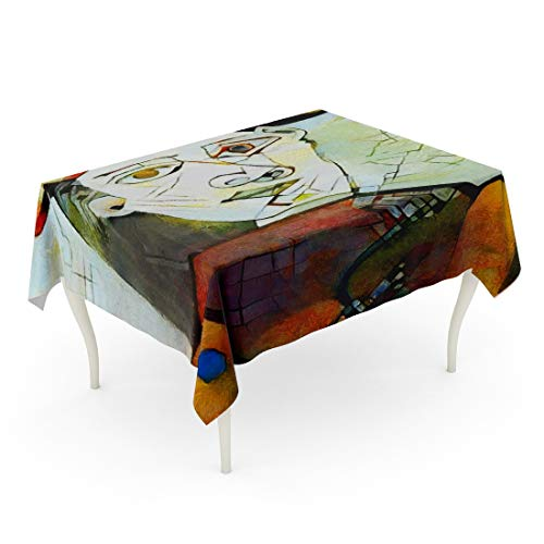 Kandinsky Modern Painting - Tarolo Rectangle Tablecloth 60 x 102 Inch Alternative Reproductions of Famous Paintings by Picasso Applied Abstract Kandinsky Designed in Modern Oil on Canvas Fine Pastel Table Cloth