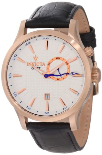 Invicta Men's 12227 Vintage GMT Silver Patterned Dial Black Leather Watch (Invicta Rose Leather Gold Watch)