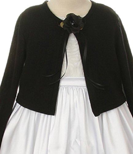 Cropped Bubble Jacket (Big Girls' Faux Cashmere Sweater Flower Girl Bolero Jacket Cover Black 8)