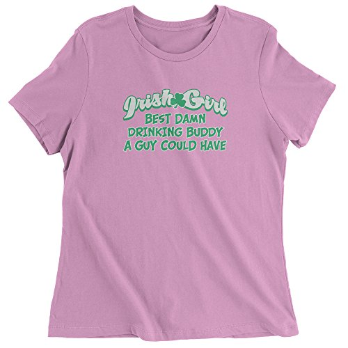 Irish Girl Light T-shirt - Expression Tees Womens Irish Girl - Best Damn Drinking Buddy T-Shirt Small Light Pink