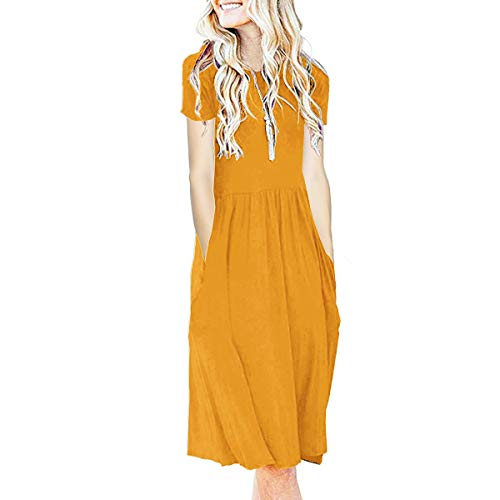 IMBOAZ Women's Short Sleeve Pleated Empire Waist Loose Swing Plain Casual Midi T Shirt Flare Dress with Pockets (Yellow, Small)