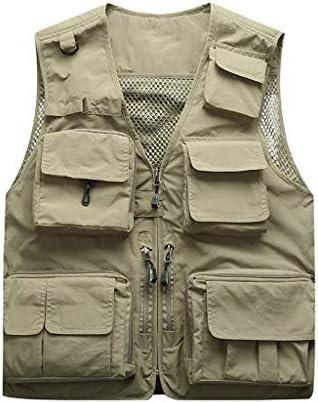 QIQIDEDIAN 釣りベスト ベスト屋外ベスト男性夏マルチポケット大きいサイズの春と秋のメンズベスト写真釣りベストベストショルダーコート薄いセクション (Size : 2XL)