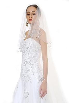 Passat 1T/2T 2M/3M/5M/10M Wedding Veil Sequin Pearl Edge Luxury Crystals Beaded Bling Bridal Veil H62
