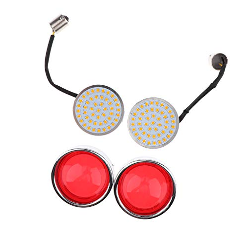 Perfeclan Yellow Light LED Flowing Motorcycle Turn Signal Light ,Pair Front/Rear Turn Signal Blinker Lights Indicator Lamp Universal: