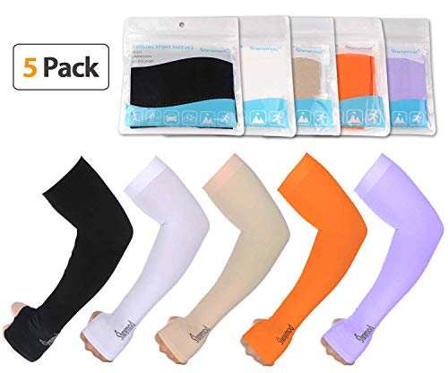 SHINYMOD UV Protection Cooling Arm Sleeves Men Women Sunblock Cooler Protective Sports Running Golf Cycling Basketball Driving Fishing Long Arm Cover Sleeves(5 Pairs(White+Black+Beige+Orange+Purple))