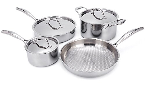 Cheap HUFTGOLD Stainless Steel Cookware Set, 7-Piece Tri-Ply Professional Cookwares, Nonstick Induction Cookware Set