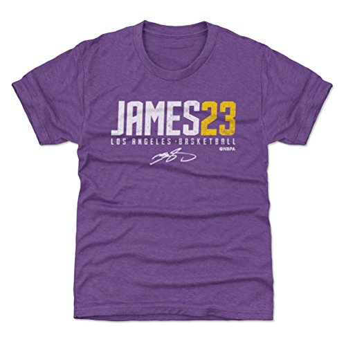 500 LEVEL Los Angeles Basketball Youth Shirt - Kids Small (6-7Y) Heather Purple - LeBron James James23 W (Lebron Vi Basketball)