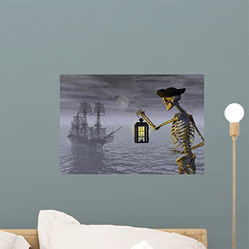 Wallmonkeys Skeleton Pirate with Ghostship Wall Mural Peel and Stick Decals for Boys (18 in W x 12 in H) WM236343]()