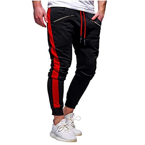 Mens Zipper Pants Pure Color Overalls Casual Pocket Sport Work Casual Trouser Black