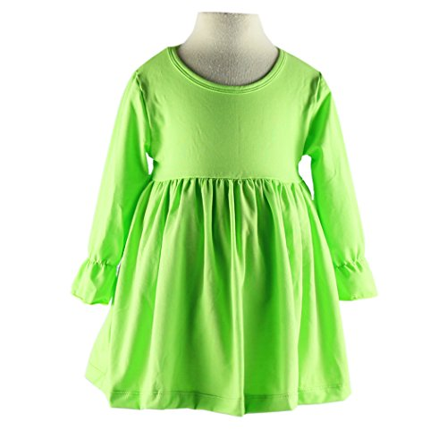 Wennikids Little Baby Girls' Long Sleeve Cotton Ruffle Top Dress XX-Large Lime