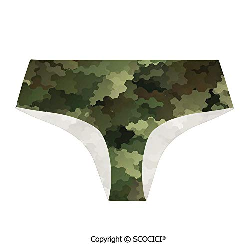 SCOCICI Women Seamless Panties Frosted Glass Effect with Funny Printing
