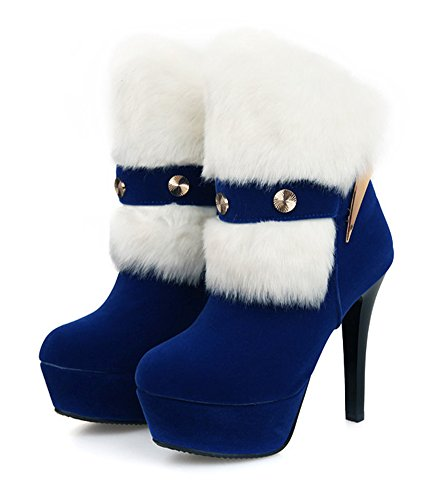 High Blue Aisun Sexy Platform Round Boots Slip Toe Fluffy Ankle Womens Shoes On Stiletto Heels zHazxw4q6