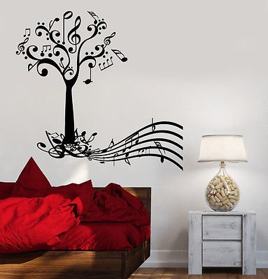 Wall Vinyl Music Tree Notes Flower Guaranteed Quality Decal VS3525