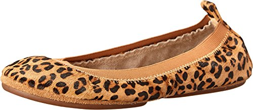Yosi Samra Women's Samara Calf Hair Leather Fold Up Flat Leopard Flat 11 M
