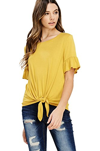 Annabelle Women's Plus Size Casual Short Sleeve Knot Tie Front Loose fit Tee T-Shirt Blouses Mustard 2X-Large T1200P (Mustard Womens Top)