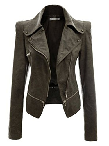(AUSZOSLT Women Faux Leather Jacket Slim Punk Bomber Casual Zipper Short Coat ArmyGreen)