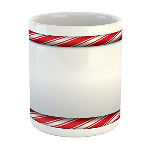 Ambesonne Candy Cane Mug, Horizontal Borders Frame with Red