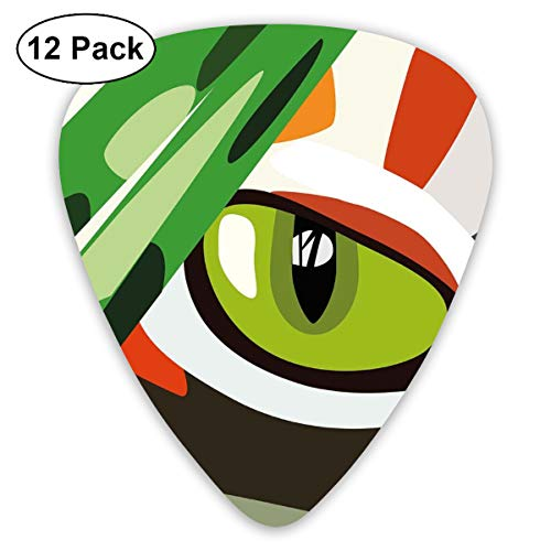Guitar Picks 12-Pack,Wild Feline Cat Tiger Eye Behind Bushes Abstract Nature Dangerous Predator Vibrant Art