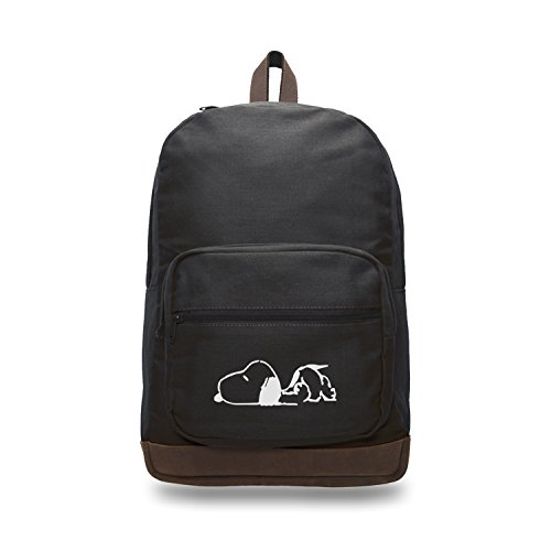 Canvas Teardrop Pack - Snoopy Laying Flat Canvas Teardrop Backpack with Leather Bottom Accents, Black
