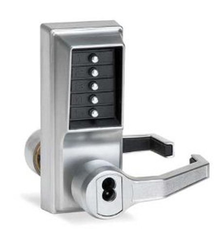 (Kaba LR1021B-26D-41 Cylindrical Push Button Lock Lever Bic Ko Rh Us26D, Satin Chrome)
