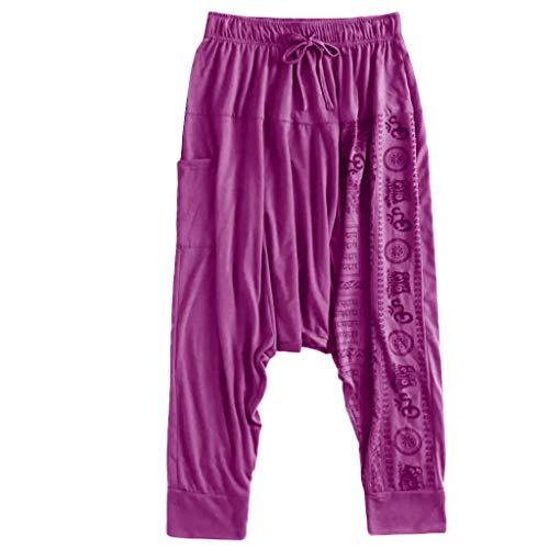 - Harem Pants for Men with Pockets,SMALLE◕‿◕ Men Yoga Wide Leg Boho Hippie Comfy Drop Crotch Pants Plus Size Aladdin Pants Purple