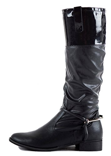Style Black Low High Style Size Flat Ladies 3 8 Calf new Riding Over Heel Winter 15 Womens Biker Knee Boots HqwCxSnp