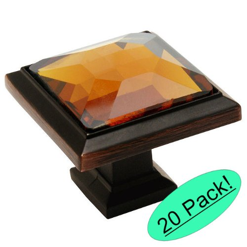 - Cosmas 5883ORB-A Oil Rubbed Bronze Cabinet Hardware Square Knob with Amber Glass - 1-1/4