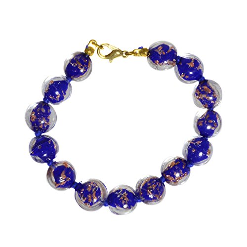 Just Give Me Jewels Genuine Venice Murano Sommerso Aventurina Glass Bead Strand Bracelet in Blue 8+1