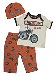 Harley-Davidson Baby Boys\' Retro Motorcycle 3 Pieces w/ Gift Bag 2551557 (3/6M)