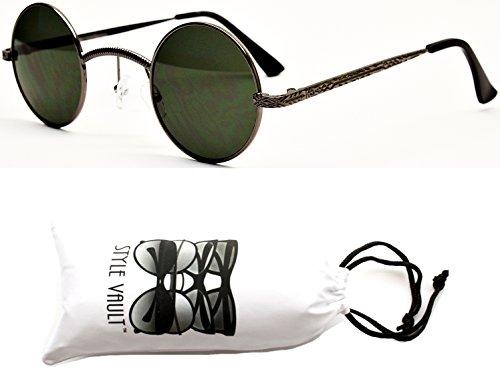 "V143-vp Style Vault 'Small 1 1/2"" Lens Round Metal Sunglasses (143SD Gunmetal-Green, clear)"