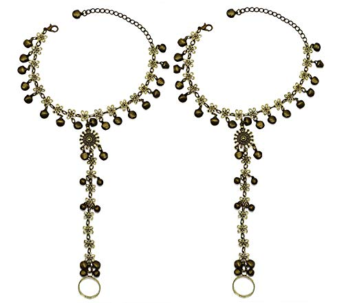 Bellady 2 Pack Golden Hollow Out Indian Chain with Bell Toe Ring Anklet for Women Beach Party Accessory, Golden Bell