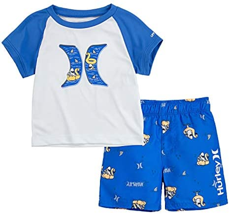 Hurley ボーイズ グラフィックTシャツと水着 2ピースセット