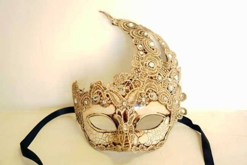 (Vintage Gorgeous Venetian Mardigras Masquerade Fancy Mask w/ Brocade Crystals I by Venetian )